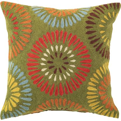 Chain Stitch Pillow in Green, $90.