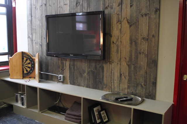 "The Red Team's ""man cave,"" featuring Courtland Bascon's entertainment center."