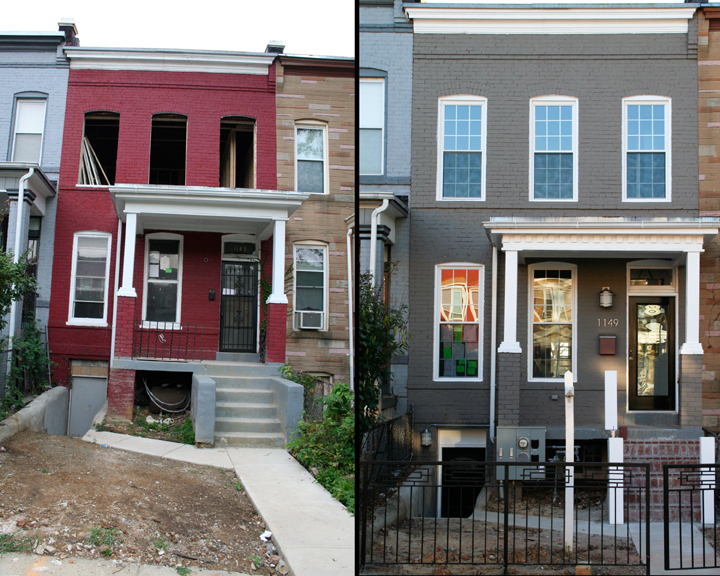 BEFORE & AFTER.  Alex renovated this row house in the Trinidad neighborhood of NE Washington, DC.