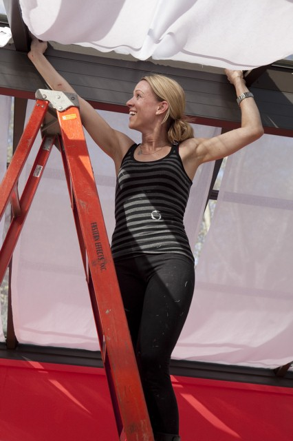 Casey installs a tented ceiling in her sunroom during the ninth challenge.
