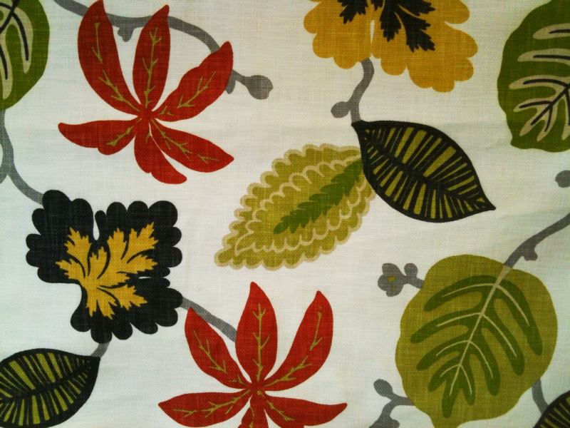 Carnival Leaf in Green/Rust/Black, $24.99/yard.