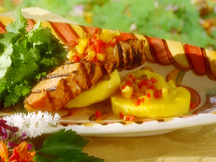 Maple-glazed salmon with pineapple salsa.