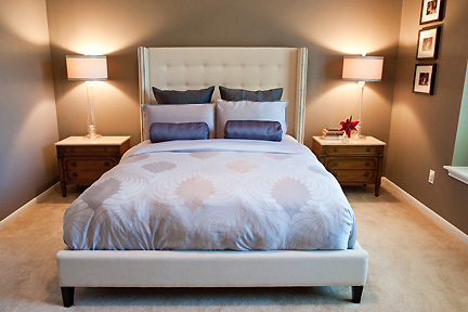 Soothing and serene lavender and taupe master suite in Austin, TX. Designed by Room Fu - Knockout Interiors.