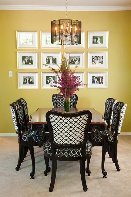 Antique dining table and chairs, transformed with new trellis-patterned upholstery and black lacquer for a modern makeover by Room Fu - Knockout Interiors.