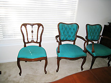 Antique traditional dining chairs, before their makeover by Room Fu - Knockout Interiors.
