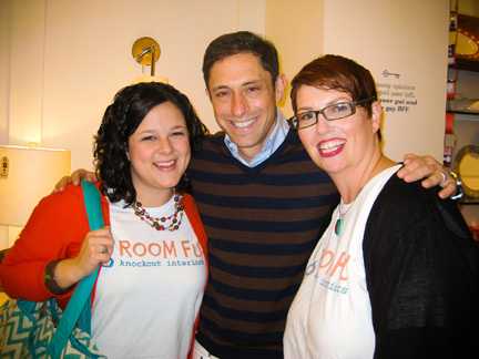 Room Fu designers Claire Patrick and Robin Callan pose for a photo with Jonathan Adler at his store in Austin, TX