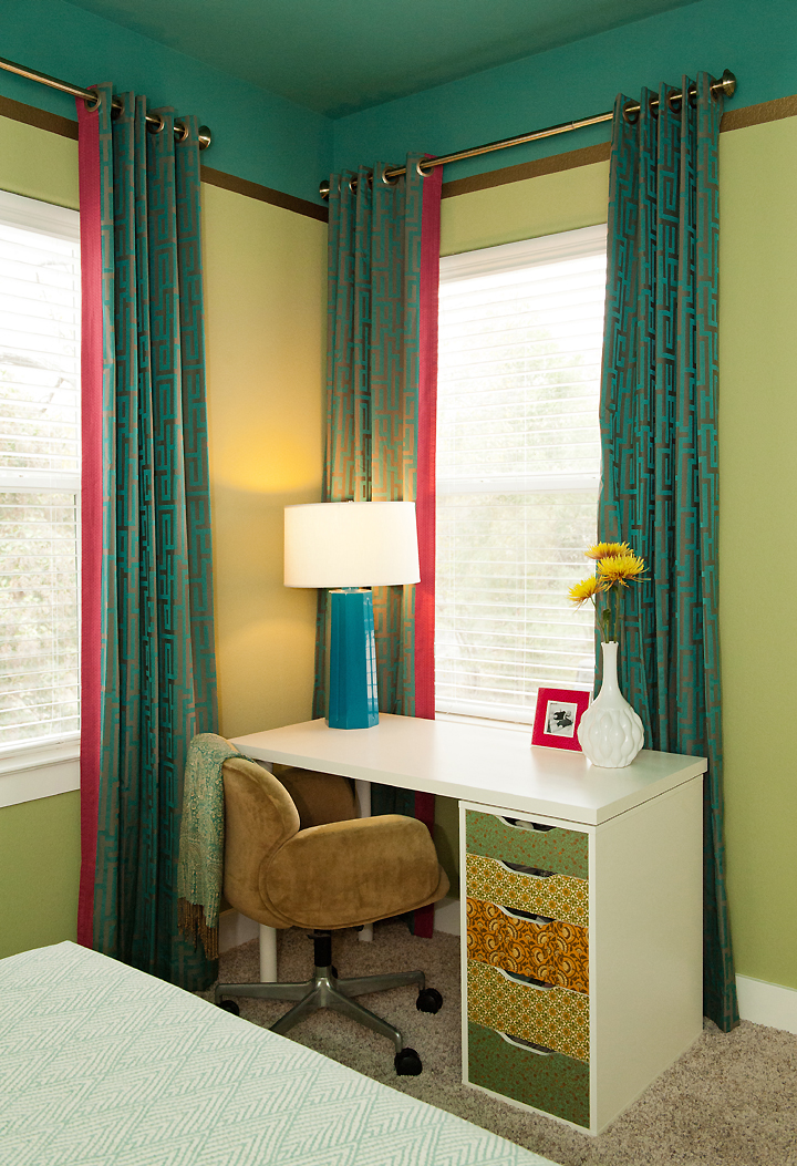 corner-shot-desk-curtains teal turquoise pink white lime greek key
