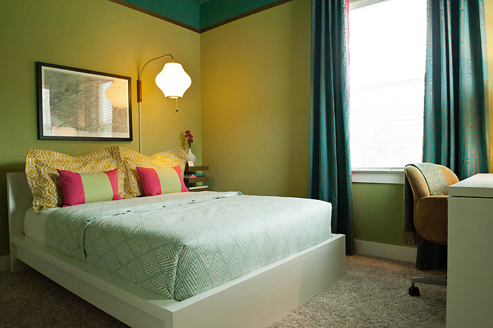 guest bedroom teal pink lime gold bed-corner-shot