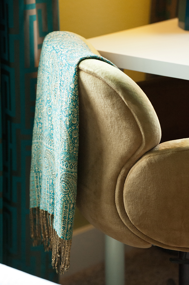 shawl-desk-chair-curtains-detail teal throw greek key curtains beige mid century chair