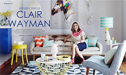 Clair Wyman is featured in a profile in Australia home decor online magazine Adore in their Feb/Mar 2013 issue.