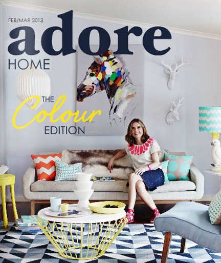 The cover of the Feb/Mar 2013 issue of Australia's online home decor magazine, Adore.