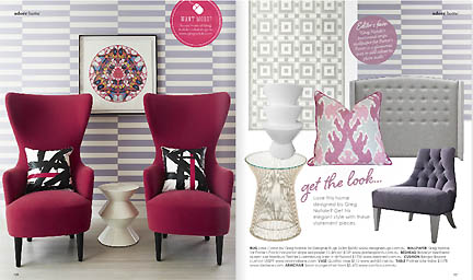 Lavender wallpaper, modern red chairs and sophisticated design are featured in this dining room spread in the Feb/Mar 2013 issue of Australia's online home decor magazine, Adore.
