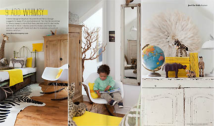 This modern kid bedroom, featuring natural elements and pops of yellow against white walls and furniture is featured in the Feb/Mar 2013 issue of Australia's online home decor magazine, Adore.