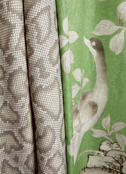 Mary McDonald's Park Avenue Python fabric from Schumacher features a snakeskin print in gray/grey tones.
