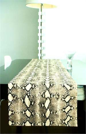 Modern snakeskin table runner from Multichic, in tan and brown.