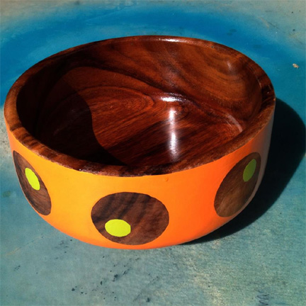 Room Fu painted mid-century wood bowl, available soon on Etsy.