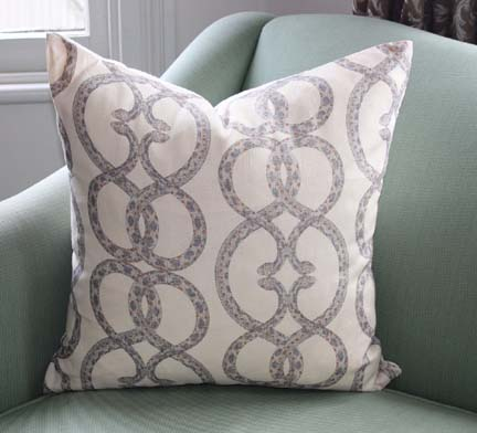 Dwell's snake chain fabric crafted into a pillow and available on Etsy.