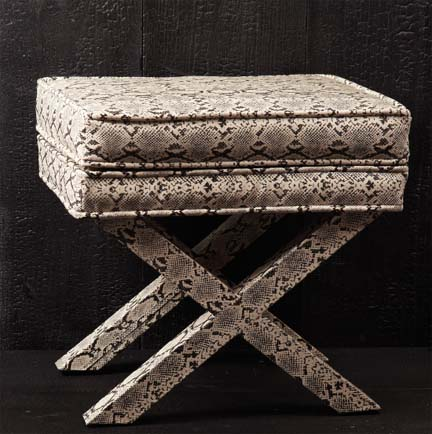 Modern snakeskin X bench or ottoman by Two's Company, featured in Elle Decor.