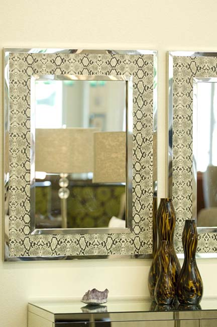 Modern chrome snakeskin mirrors from Wallis Designs.