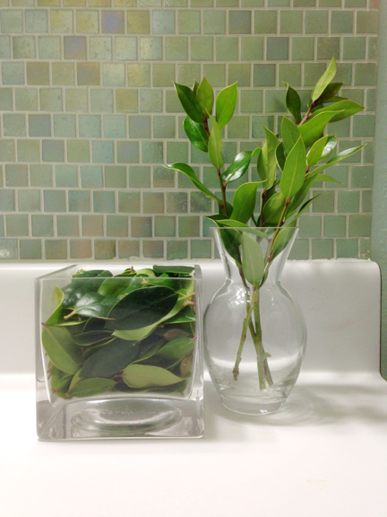 holly leaves square glass bud vase modern irridescent tile bathroom backsplash aqua spa blue white countertop