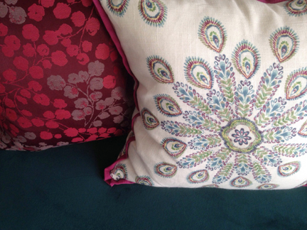 west elm sofa couch bolt fabrics pillows peacock linen cherry blossom magenta purple pink red blue teal 3