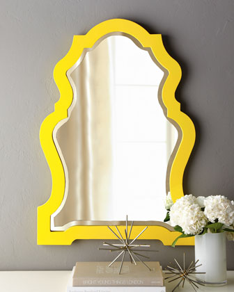 yellow modern hollywood regency mirror