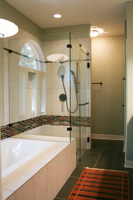 mid-century modern master bathroom remodel earth tone glass mosaic tile shower tub