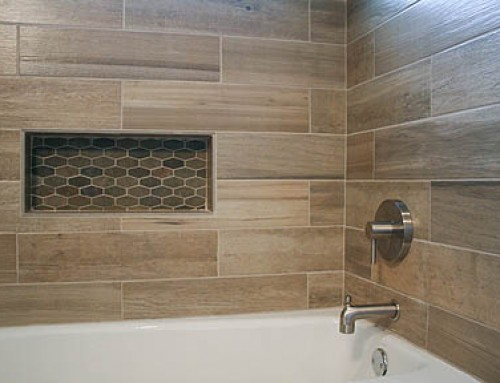 Modern Rustic Slate and Teak Guest Bathroom