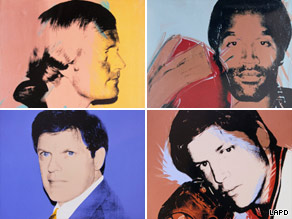 Stolen Warhols, clockwise: Jack Nicklaus, O.J. Simpson, Tom Seaver, Richard Weisman