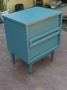 Cute little mid-cent nightstand, $25