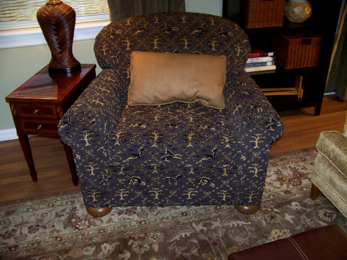 AFTER: This chair's now sporting leather sides and back (refer to LR after pics above)