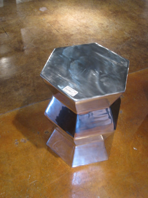 Floor sample aluminum table, marked down to $115 (reg. price: $250).