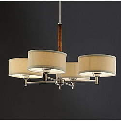 Chrome Plate Wood Accent 33-inch 4-shade Chandelier, $159.99
