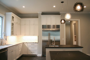 An upscale kitchen in a new home build in Austin TX.