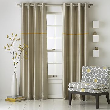 "Modern Stripe Silk, $99 for 96"" panel."