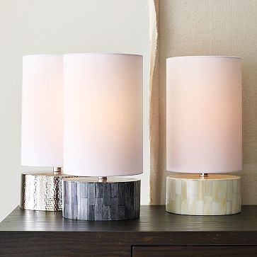Round Uplight Table Lamps, $59 each.