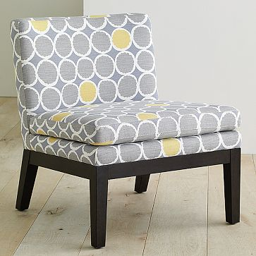 Upholstered Slipper Chair in Flower-Dot fabric, $299.