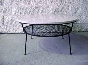 Marble-topped cocktail table, $195.
