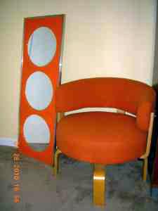 Pair of mod orange chairs, $140/ea.