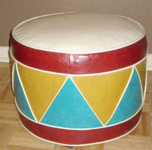 Great for a playroom! Drum Ottoman, $25