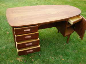 Curved mid-century desk, $450