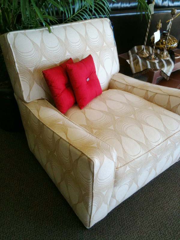 The upholstery on this chair is supercool and neutral.  $565