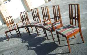 Set of 6 mid-century dining chairs (incl. 2 armchairs), $235