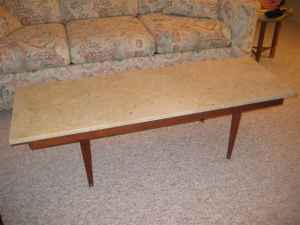 Marble-topped coffee table, $75.