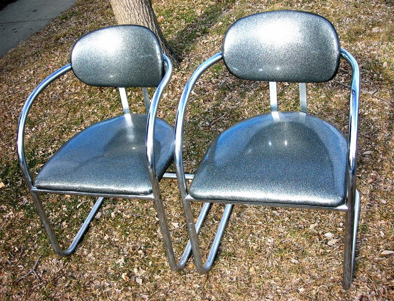 Metallic vinyl chairs, $150/pr.