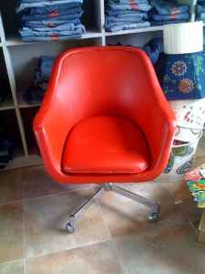 Red leather swivel chair, $50