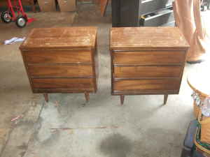 Great price, needs TLC.  Two nightstands + matching dresser, $75.