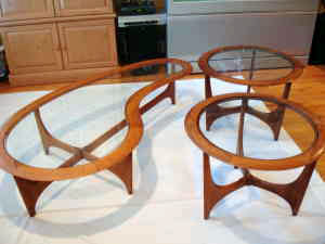 Set of 3 teak occasional tables, $475.