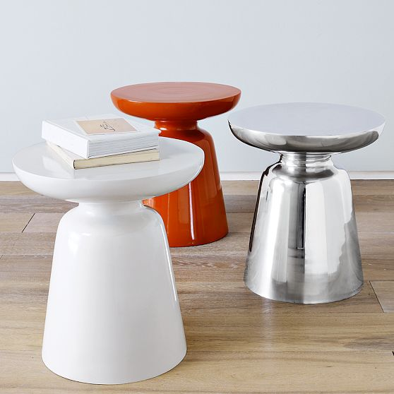 Martini tables from West Elm, $129.  Available in white, silver and persimmon.