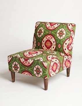 Slipper Chair - Watermelon Ikat, $325.